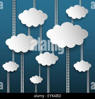 Abstract Internet Marketing Background With Clouds And Stairs - Stock Photo