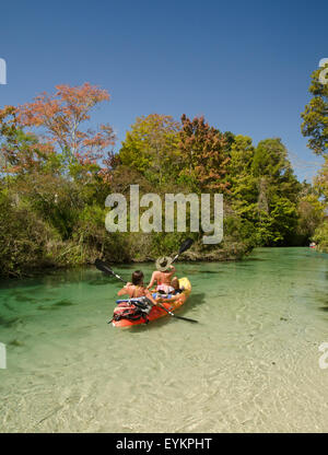 Kayaking on the Weeki Wachee River, Spring Hill Florida - Stock Photo