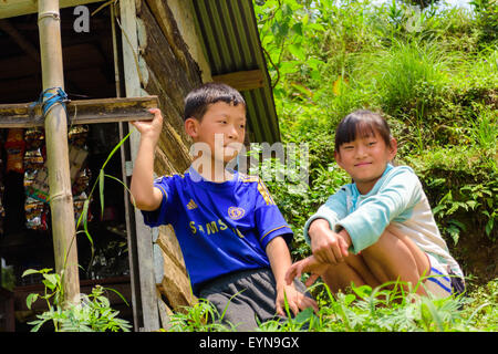 Brother and sister, siblings posing for the camera with toy and copy space - Stock Photo