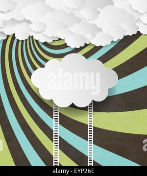 Vintage Background With Clouds And Ladders (stairs) - Stockfoto