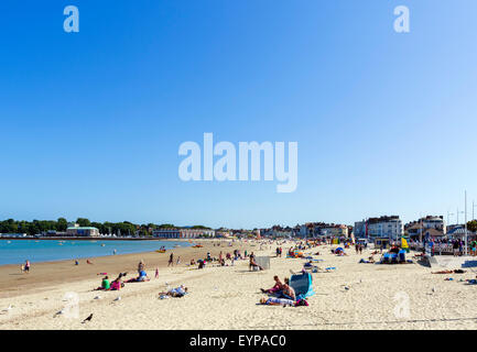 The town beach in Weymouth, Jurassic Coast, Dorset, England, UK - Stock Photo