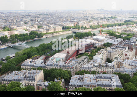 View from the 1st floor observation deck of the Eiffel Tower looking towards the 7th and 16th arrondissements of - Stock Photo