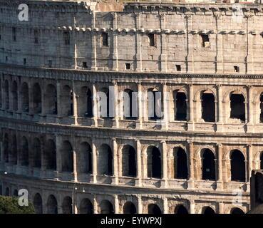 Detail of the Colloseum, UNESCO World Heritage Site, Rome, Lazio, Italy, Europe - Stock Photo