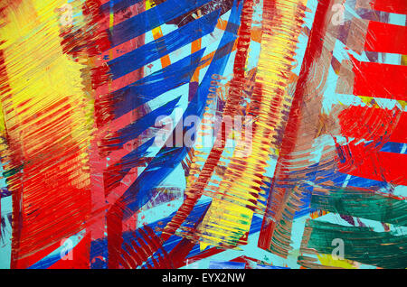 Close up of bold painted abstract strokes with textured paint. - Stock Photo