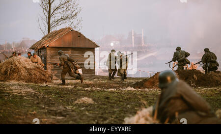 MOGILEV, BELARUS - MAY, 08, 2015: Reconstruction of Battle during events dedicated to 70th anniversary of the Victory - Stock Photo