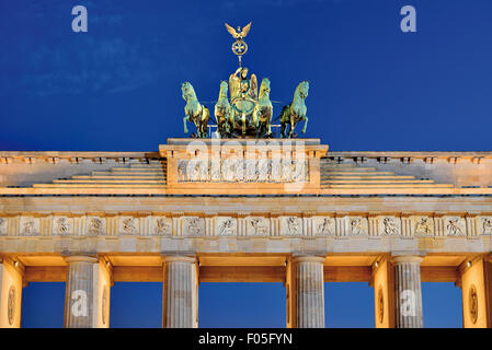 Germany, Berlin: Top of the Gate of Brandenburg by night - Stock Photo