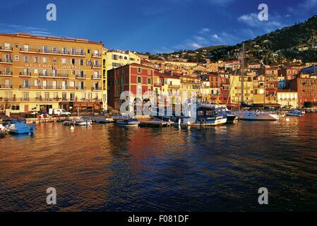 View of Welcome Hotel at port of Villefranche-sur-Mer, France - Stock Photo