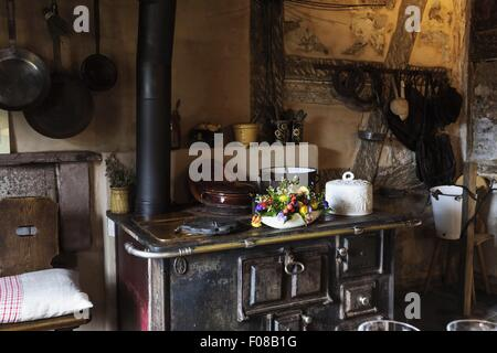 Old kitchen in Hotel Bareiss in Baiersbronn, Black Forest, Germany - Stock Photo