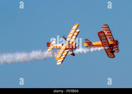 Blackpool, Lancashire, UK 1oth August 2015.    Boeing Stearman biplanes display aircraft at the Blackpool Air show. - Stock Photo