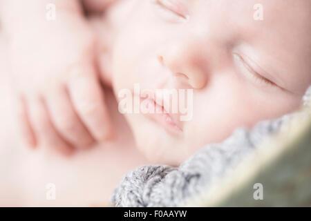 Close up of baby sleeping - Stock Photo