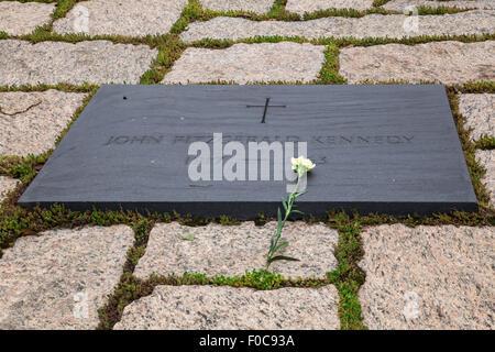 John F. Kennedy  grave at Arlington National Cemetery outside Washington DC - Stock Photo