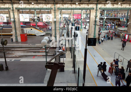 Gare du Nord railway station in Paris with Eurostar train at platform, France - Stock Photo