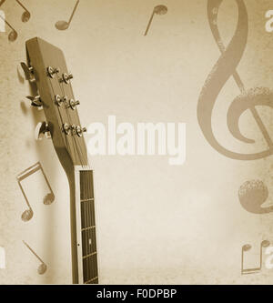 musical background with acoustic guitar and notes - Stockfoto