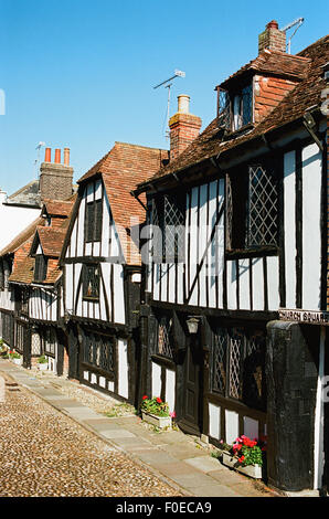 Old Tudor houses in Church Square, Rye, East Sussex, UK - Stock Photo