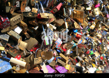 Padlocks  or Love locks on Pont de l' Archeveche in 2013 , Paris, France - Stock Photo