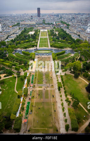 View from the Eiffel Tower over Champ de Mars in Paris - Stock Photo