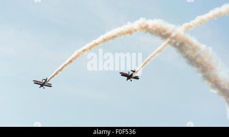 Breiting wingwalkers at the 37th Annual Bristol Balloon Fiesta, - Stock Photo