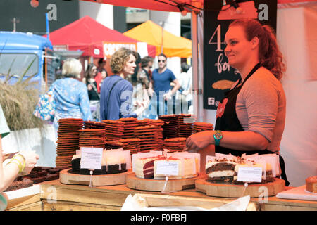 Cookie and cake stall at the Southbank Centre Market by Royal Festival Hall, London, UK - Stock Photo
