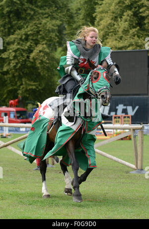 The Knights of the Damned medieval jousting team with a lady knight Credit:  David Bagnall/Alamy Live News - Stock Photo