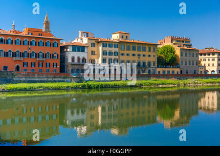 Quay of the river Arno in Florence, Italy - Stock Photo