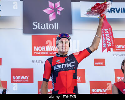 Narvik, Norway, 16th August 2015.  Silvan Dillier from Switzerland cycling for BMC Racing Team was the winner of - Stock Photo