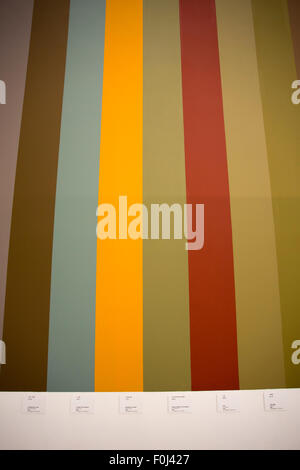 Different straight lines of colors on a wall. Detail of an exhibition at the Nanshi Power Plant. - Stock Photo
