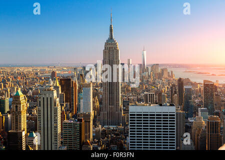 New York City, Empire State Building at Sunset - Stock Photo