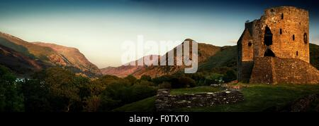 Panoramic view of Dolbadarn Castle ruins, North Wales, UK - Stock Photo