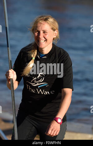 St. Petersburg, Russia, 21st August, 2015. Two-time British Olympic gold medalist Sarah Ayton from The Wave, Muscat - Stock Photo