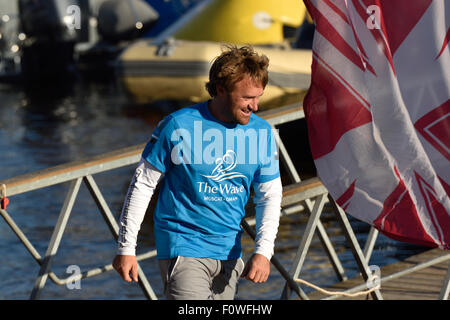 St. Petersburg, Russia, 21st August, 2015. Skipper of The Wave, Muscat sailing team Leigh McMillan from United Kingdom - Stock Photo