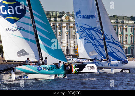 St Petersburg, Russia. 21st August, 2015. GAC PINDAR (UK) with skipper Seve Jarvin and GAZPROM Team (Russia) with - Stock Photo