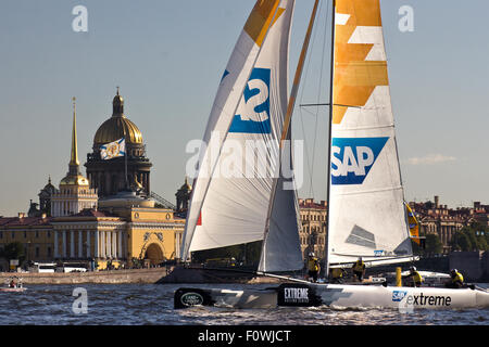 St Petersburg, Russia. 21st August, 2015. The Danish-run SAP Extreme Sailing Team with co-skippers Jes Gram-Hansen - Stock Photo
