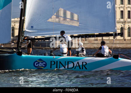 St Petersburg, Russia. 21st August, 2015. GAC PINDAR (UK) with skipper Seve Jarvin. Credit:  studio204/Alamy Live - Stock Photo