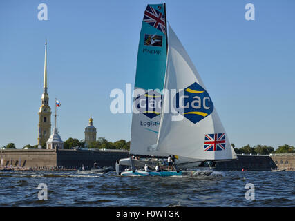 St. Petersburg, Russia, 21st August, 2015. Catamaran of GAC Pindar sailing team from United Kingdom in the Extreme - Stock Photo