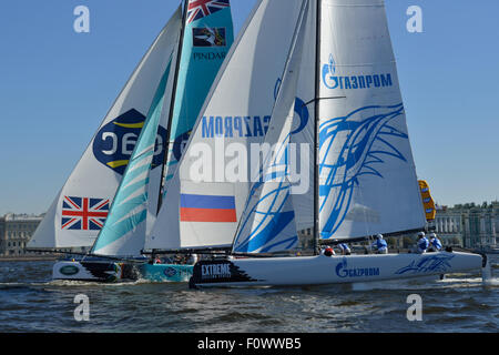 St. Petersburg, Russia, 21st August, 2015. Extreme 40 catamarans compete during the 2nd day of St. Petersburg stage - Stock Photo