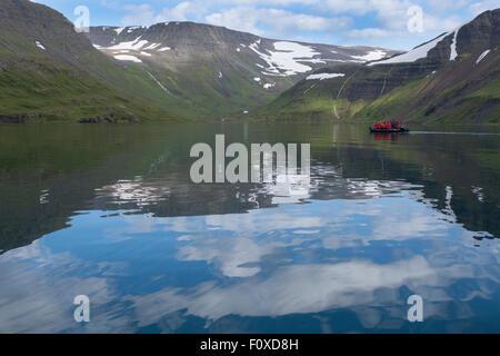 Iceland, Westfjords, Jokulflrdir, Lonagfjordur Nature Reserve (66°16'33' N  22°37'15' W). Exploring remote fjord - Stock Photo