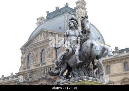 Equestrian statue of king Louis XIV in the courtyard of the Louvre museum. Made by Gian Lorenzo Bernini, in Paris, - Stock Photo