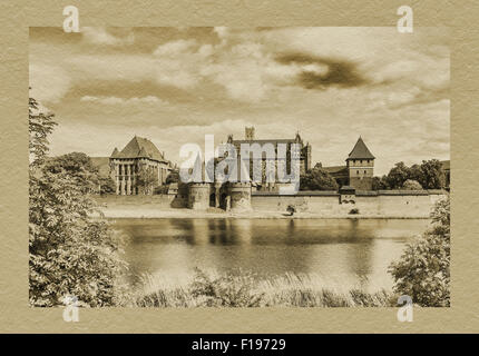 The Castle of the Teutonic Order is the largest brick building in Europe, Malbork, Pomerania, Poland - Stock Photo