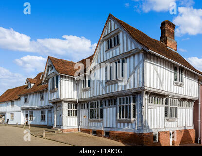 The Guildhall of Corpus Christi, a 16thC timber-famed building in the Market Place, Lavenham, Suffolk, England, - Stock Photo