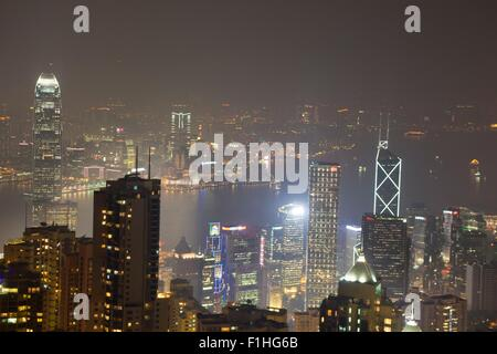 View from The Peak, down onto Central, and Kowloon, Hong Kong - Stock Photo