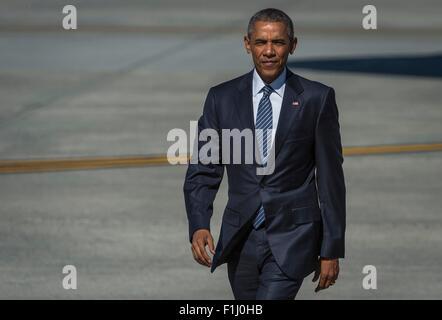 U.S. President Barack Obama arrives at Joint Base Elmendorf-Richardson to speak at the Conference on Global Leadership - Stock Photo