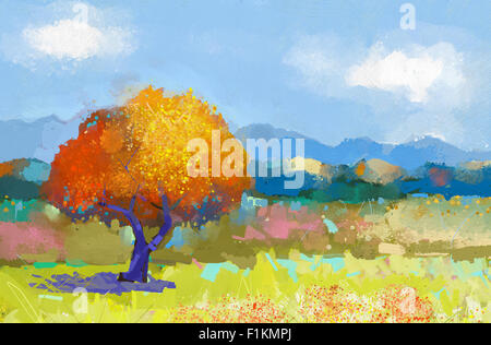 Oil painting colorful rural landscape.Hand paint  fields of flowers with blue sky. Summer season background.Modern - Stock Photo
