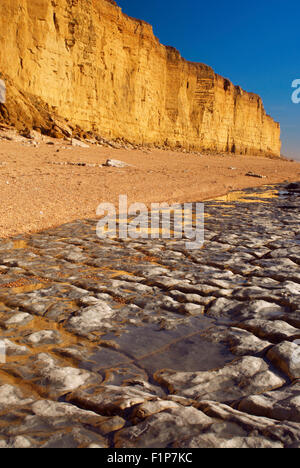 View of limestone paving and iconic sandstone cliffs at Burton Bradstock Beach on Dorset's Jurassic Coast in England, - Stockfoto