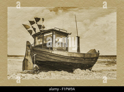 Fishing boat at the Baltic Sea in Ahlbeck, Heringsdorf, Usedom Island, Mecklenburg-Western Pomerania, Germany, Europe - Stock Photo