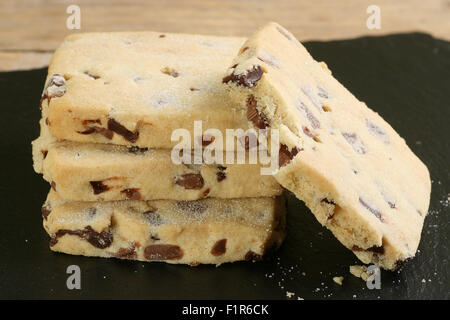 home made chocolate chip butter shortbread cookies - Stock Photo