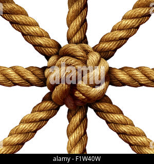 Connected Group business concept and unity symbol as a collection of thick ropes coming together tied in a knot - Stock Photo