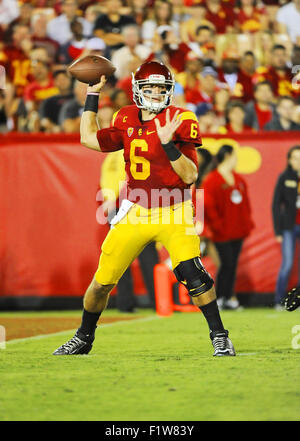 Los Angeles, CA, USA. 05th Sep, 2015. Quarterback Cody Kessler of the USC Trojans in action against the Arkansas - Stock Photo