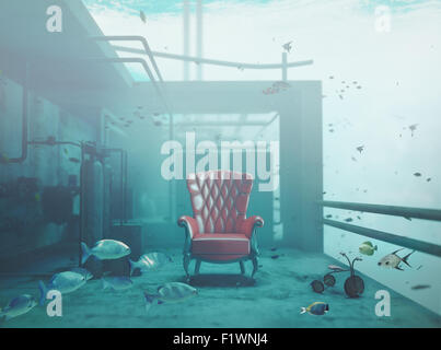red luxury armchair underwater. CG and photo compilated concept - Stock Photo