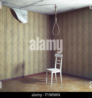 chair and noose in empty grunge room. 3d concept - Stock Photo