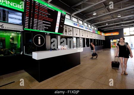 Praha Florenc bus station schedule board in Prague, Czech Republic - Stock Photo